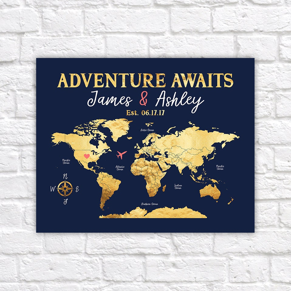 Adventure awaits personalize map world map with antarctica wedding adventure awaits personalize map world map with antarctica wedding gift idea navy coral and gold wedding colors push pin map wf291 gumiabroncs Images