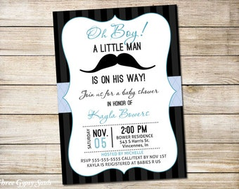 Mustache Baby Shower Invitation Little Man Baby Shower Invitation For Boy