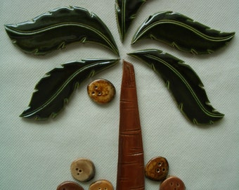 CS5 -  PALM Tree, Coconuts - Ceramic Mosaic Tile Set