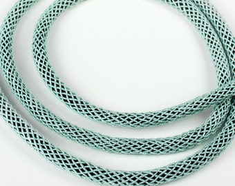 Aqua SILK cord soft chunky woven rope tube 6mm thick genuine organic natural handspun silk braided w/ polyester core