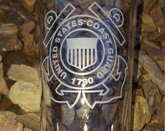 Coast Guard Etched Pint Glass Custom