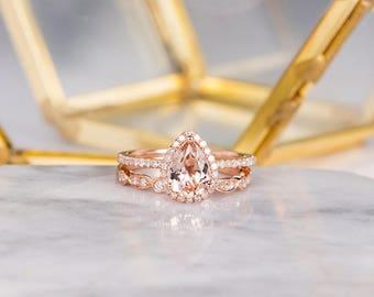 Rose Gold Morganite Engagement Ring Set Bridal Set Pear Shaped Art Deco Halo Diamond Women Half Eternity Wedding Anniversary Gift For Her