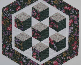 Quilted Table Topper, 3D Floating Blocks, Green Floral