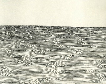 Indian Ocean / Archival Letterpress Small Print / Fine Art / Hand signed numbered Edition 25 / Original drawing Jesse Paul Miller