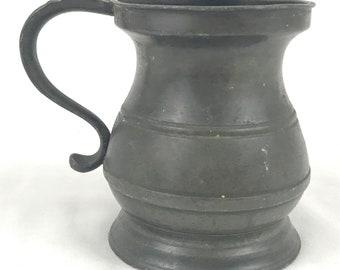 Unique Antique Pewter, Pewter Measure, Half Pint, War Department, WD Markings, Edwardian Pewter, Historical Antique, Unique Decor, Old Pot