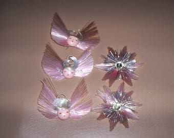 Vintage 60's Pink Angels Stars Christmas Ornaments Ornies Set of 5 Good Condition
