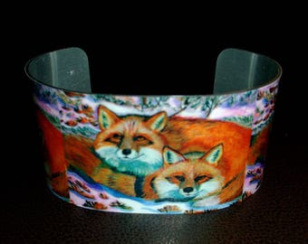 Red Foxes in Snow Sublimated Adjustable Cuff Bracelet