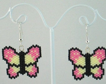 Beaded Butterfly in Pink and Pale Yellow Earrings