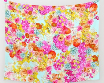 Bright and Colorful Neon Floral on Mint Wall Hanging Tapestry. Add the perfect splash of color for any room of your home, affordably.