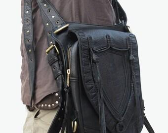 Black Leather holster, leather utility belt, festival belt, steam punk belt, tribal jungle, navajo, messenger bag