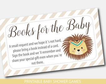 Tribal lion bring a book instead of a card insert Lion safari baby shower books for the baby cards Tribal teepee book request inserts BW4-09