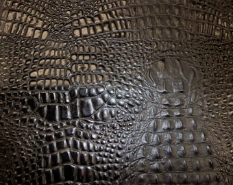 """Leather 8""""x10""""  Alligator TWO-TONE BLACK Croc Embossed Cowhide 2.5-3oz/ 1-1.2 mm PeggySueAlso™ E2860-24 hides available"""