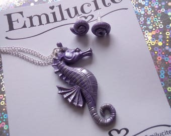 Purple Seahorse necklace and matching shell earrings