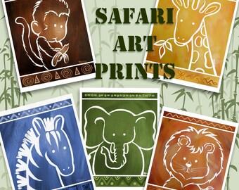 Childrens Art - NEW with a BLUE Zebra -  African Safari Zoo Animals Art Prints for Nursery Kids Children Set of 5 Fine Art Prints