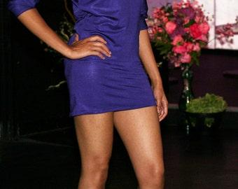 Shimmery purple dress Off shoulder dress Batwing dress Sparkly dress