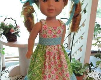 Pink Dress to fit your Wellie Wishers Doll in Sundress Style
