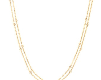 White Topaz Chain Necklace - Extra Long 46in. Necklace - 14k Gold Filled - Small Faceted White Topaz Gemstones - Gold Chain