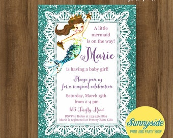 Mermaid Baby Shower Invitation // Printable or Printed invite with faux glitter // baby girl // blonde or brunette mermaid // ocean, sea
