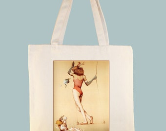 Vintage Trapeze Circus Performer Illustration on Natural or Black Canvas  tote - Selection of sizes available