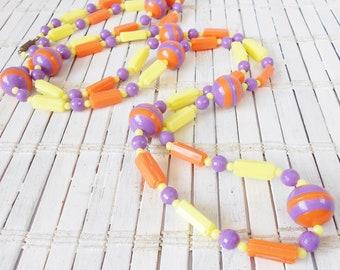 Vintage Neon Plastic Beaded Necklace, Orange Purple Yellow, 1960's, Opera Length, MOD style, Chunky Beads, Wild Child, Layering necklace