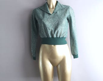 1970s Green with silver lurex disco top size 10 uk