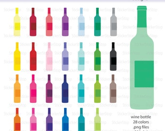 Wine Bottle Icon Digital Clipart in Rainbow Colors - Instant download PNG files