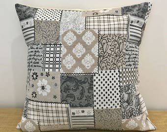 """Patchwork Cushion Cover. Stone Brown Brocade. Decorative Throw Pillow. 16""""/18"""" . Cushion Covers Australia"""