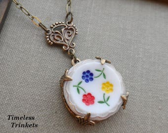 Handpainted Vintage Milk Glass Button Necklace, Primary Colors, Red, Yellow, Blue and Green, Floral Circle