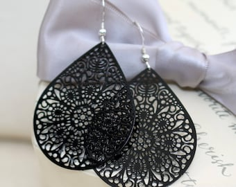 Black filigree laser cut earrings with Sterling earwires