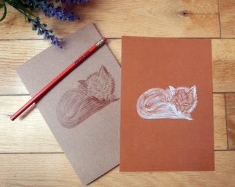 Fox Stationery Notebook and Print Set Gift