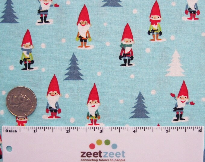 RARE Michael Miller Many MINI GNOMES Aqua Blue Red White Green Christmas Holiday Gnome Quilt Fabric Remnants Out of Print