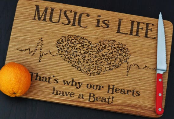 Music is Life engraved cutting board or serving board. Beautiful music themed cutting board, wonderful gift for musician or music teacher!