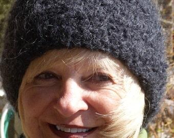 Basic black winter hat for women, original handcrafted crochet hat, Bohemian accessories, unique black skullcap, creative hats