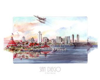 "San Diego Watercolor Print (20"" X 30"")"