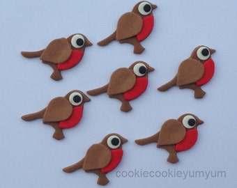 12 edible CHRISTMAS RED ROBINS cute bird gift surprise xmas tree ornament cake decoration cupcake topper party birthday snow holiday cookie