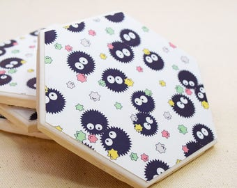 Soot Sprite Hexagon Coaster | Single Coaster | Totoro Ceramic Tile Coaster | Studio Ghibli Spirited Away |  | Kawaii Anime Drink Coaster