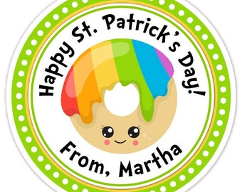 Happy St Patrick's Day Stickers, Rainbow Donut Labels, 2.5 inch round