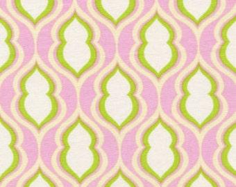 Heather Bailey - Nicey Jane - Pocketbook in Rose - pink green retro geometric print - cotton quilting fabric - HALF YARD cut