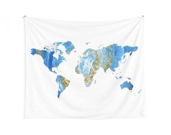 Blue map tapestry blue world map wall tapestries for blue blue gold map wall tapestry map wall tapestry blue map tapestry gold map gumiabroncs Images