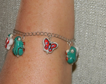 Frog and Butterfly Charm Bracelet