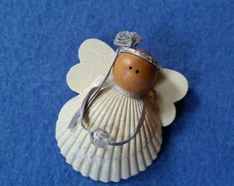 Vintage Seashell Angel Magnet, vintage handmade angel, seashell magnet