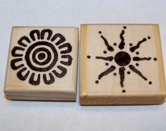 Lot of 2 New Mounted Rubber Stamps - Sun, Suns