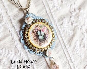 Vintage Nest Necklace, Vintage Egg, Eggs in Nest, Nest Necklace, Nest Jewelry, Porcelain Rose, Victorian Nest, Victorian Jewelry, Vintage