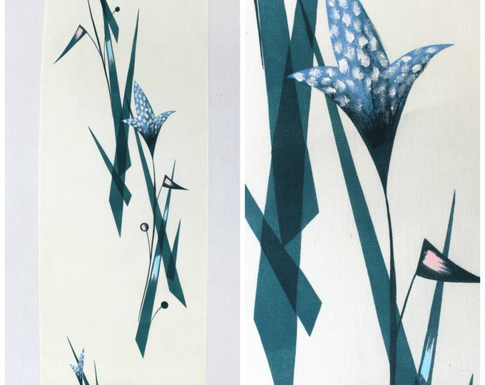 Hand Painted Silk. Vintage Japanese Yukata Fabric. Abstract Mid Century Modern Kitsch Design. (Ref: 1211)