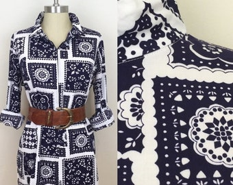 30% Off Sale 70s Navy and White Bandana Print Zip Tunic Blouse, Size Large to XL