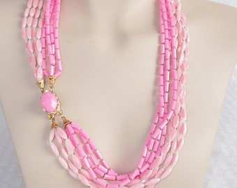 1960s Vintage Pink Beaded Multi Strand Convertible Necklace