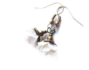 White Rose Earrings,Flower Dangle Earrings, Flower Girl Earrings, Cute White Floral Jewelry, Rose Earrings
