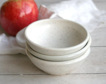 Prep Bowls - Set of Three Creamy White Speckled Stoneware Bowls, Small White Kitchen Bowls Handmade Pottery Dipping Bowls