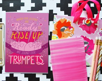 sound our trumpets greeting card// birthday card // mother's day card // feminist greeting card // greeting card for her