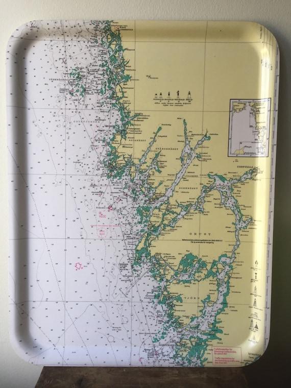 Vintage/hardplastic tray/Swedish coast line/Gothenburg/tray/Sweden/serving tray/west coast